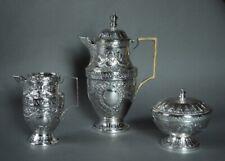 Exquisite ca 1850 Hallmarked French Silver Repousse Demitasse Tea Set - 684 g