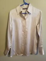 Kate Hill 100% Silk Long Sleeve Floral Print Button Front Blouse Women's Size 4