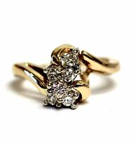 14k yellow gold .56ct women's diamond cluster ring 3.3g estate vintage ladies