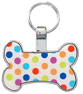 Engraved Pet Tag Polka dot - Free Name & Phone number engraved on tag