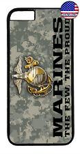 Camo US Marines USMC Semper Fi Rubber Case Cover iPhone Xs Max XR X 8 7 6 Plus 5