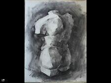Original large charcoal drawing-Art 65x50cm Female nude-woman 3