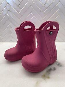 CROCS Girl's Toddler Handle It Rain Boots Water Proof Lightweight Pink Size C6 6