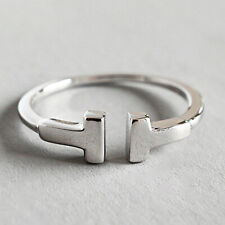 Solid 925 Sterling Silver Simple Double T Letter Open Rings for Women Jewelry