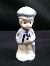 Vintage Sailor Boy Figurine Blue&White Stoneware Look #F921