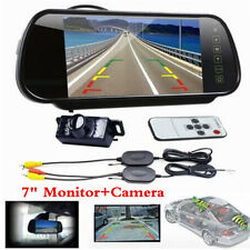 "Wireless 7"" Mirror Monitor Reverse IR Camera Rear View Kit For Car Waterproof"