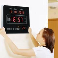 Digitaltuhr LED Digital Wanduhr mit Datum Temperatur Kalender Für Wohnzimmer♥