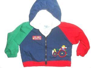 Oshkosh Baby B'Gosh Toddler boy Blue Size 24 M Hoodie Zip Jacket Tractor Vintage