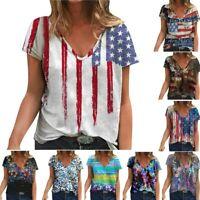 Womens Flower Print V-Neck T-shirt Short Sleeve Blouse Summer Casual Tops Tees