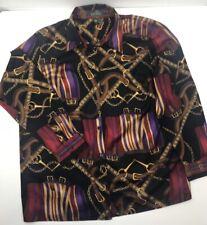 Lauren Ralph Lauren Women's 1X Equestrian Saddle Print Button Down Shirt Blouse