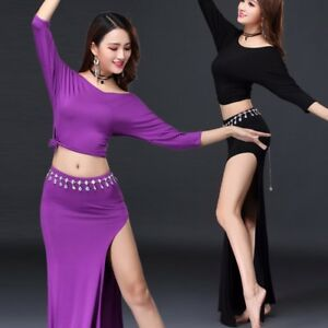 Women Belly Dance Blouse Top Long Skirt Suit Set Training Dance Practice Costume