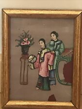 antique chinese rice pith paper painting,framed,very old,rare,great display,good