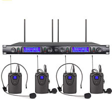Wireless Microphone System 4 Channel 4 Lavalier 4 Headset Mic Kraoke Stage