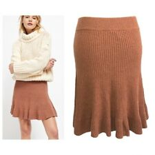 FREE PEOPLE SOLID GOLD SKIRT Brown Rib Knit XS / UK 8 / 36 - NEW