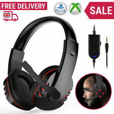 Gaming Headset for Xbox One Switch PS4 3.5MM Gamer Headphone + Mic PC Black UK