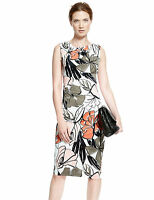 Marks and Spencer Autograph Floral Pansy Beige Shift Bodycon Dress Sizes 6-20