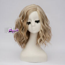 "Lolita 14"" Short Brown Mixed Blonde Curly Synthetic Hair Celebrity Cosplay Wig"