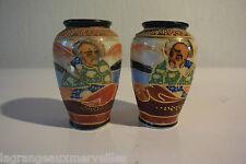 2 anciens vases japonais Satsuma marqués sur le bas !!!