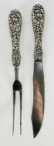Antique Kirk STIEFF Repousse' Sterling Silver Small Carving Set Stainless Blades