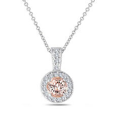 Pink Peach Morganite Pendant Necklace 14K White Gold 1.13 Ct Halo Pave Handmade