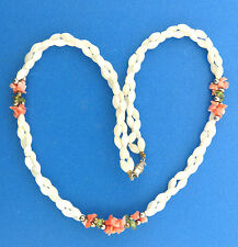 Vintage Mother-of-pearl Necklace wth Coral Chip Peridot Double Strand