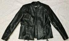 Women's Black Leather Motorcycle Embroidered Jacket. Black Medium, NWOT