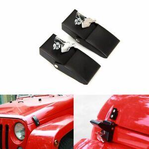 1 Pair Black Aluminum Hood Lock Catch Kit fit for Jeep Wrangler JK 2007-2018 an