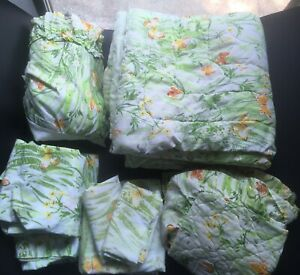 Vintage 70s TWIN SET 9 PIECES Butterfly Wildflowers Blanket Sheet Pillowcases