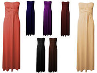 New Womens Ladies Knot Maxi Strapless Boob Tube Bandeau Bow Tie Maxi Dress 8-14