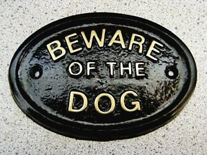 BEWARE OF THE DOG OR DOGS HOUSE DOOR PLAQUE SIGN (Gold or Silver Lettering)