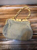 Vintage 1940'S WHITING & DAVIS Cream ALUMESH PURSE Handbag Celluloid Frame/Chain