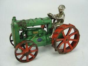 """1920's ARCADE CAST IRON FORD OLIVER 5.5"""" FARM TRACTOR TOY ORIGINAL W/ 2 PLOWS"""