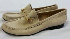 Gucci womens ivory leather horsebit loafers shoes flats sz 6.5
