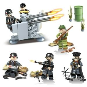 WW2 German Army Soldiers Building Blocks Bricks Weapons Antiaircraft Guns Model