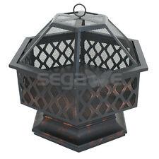 "Zeny 24"" Hex Shaped Fire Pit Outdoor Home Garden Backyard Firepit Bowl Fireplace"