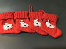 "4 hand crafted Old English sheepdog "" knitted stocking ornaments"