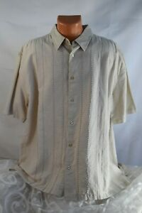 MEN - CENTRO (XXL) Shirt 55% LINEN Short Sleeve ECRU BEIGE Embroidery Top Stitch