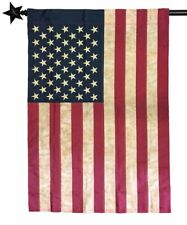"""BEST QUALITY - 28""""x 40"""" VINTAGE AMERICAN HOUSE FLAG - EMBROIDERED TEA STAINED"""