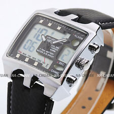 OHSEN Mens Black Leather LCD Digital Date Dual Sport Quartz Watch Vogue