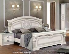 Luxus Barock Ehe Doppelbett creme weiß silber Hochglanz Polsterbett 180x200