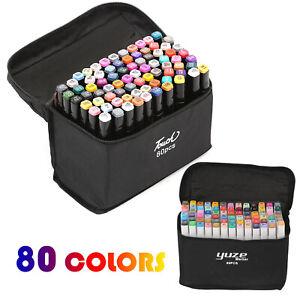 80 Colors Brush Twin Tip Marker Art Pens Set Graphic Artist Paint Dual Tip Tools