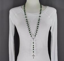 "Dark Green faux jade look bead beaded rosary silver cross 32"" long necklace"