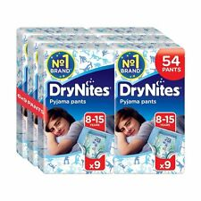 Huggies DryNites Boys Pants 8-15 Years Pyjama Pants Pack of 6 Total 54 Pants NEW