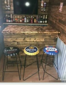 Man Cave Bar Stool x1 Home Bar Indoor/Outdoor Bottle Cap Metal made To Order