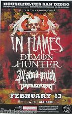 IN FLAMES / DEMON HUNTER / ALL SHALL PERISH  2013 SAN DIEGO CONCERT TOUR POSTER