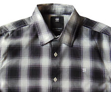 Men's G-STAR RAW / G RAW Black White Plaid Cotton Shirt Medium M NWT NEW