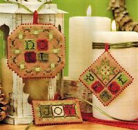 ✔️ Set of 3 Country Rustic Beaded Edge Christmas Ornament Cross Stitch Charts