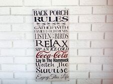 Rustic Wood Sign - Back Porch Rules...- Hand-Painted - Summer Decor - Coca Cola