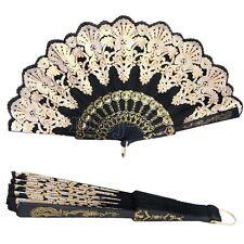 Black Spanish Style Dance Party Wedding Lace Silk Folding Hand Held Flower Fan