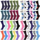 Lot 12 Pairs Cotton Womens Girl Argyle Stripe School Casual Crew Socks Size 9-11